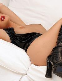 Sandra Shine Photo studio lighting with black leather dress