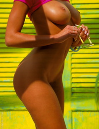 Anita Blond Neon green door with smoking tan girl and beach shots