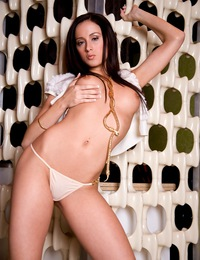 Christina Goins climbs a funky-styled column, allowing us to perfectly see her naked ass and backside!