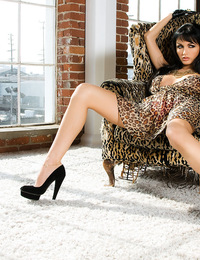 The beautiful Roxanne makes herself very comfortable in several sexy positions on a plush chair. Check out this ravishing Russian as she wraps her nak